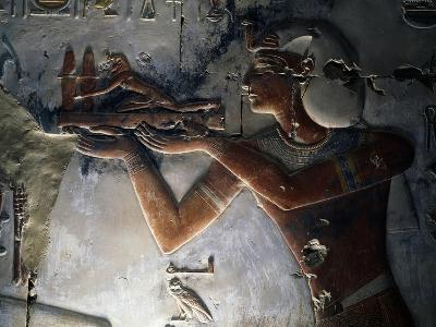 King Seti I, Detail of Painted Relief, Temple of Seti I, Abydos