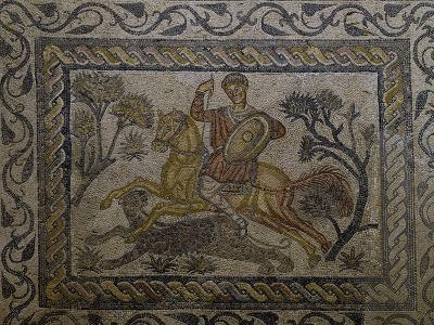 Scene of a Lion or Panther Hunt, Mosaic Uncovered in Merida, Spain