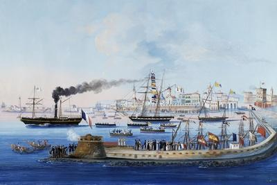 Naval Procession of Pope Gregory XVI from Civitavecchia to Saline Corneto, May 23, 1835, Italy