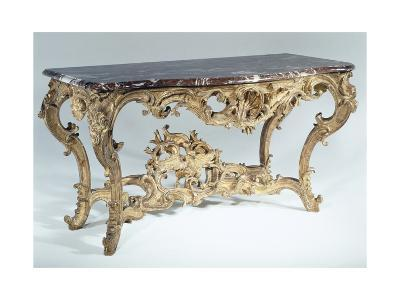 Louis XV Style Carved and Gilt Wood Console Table, France