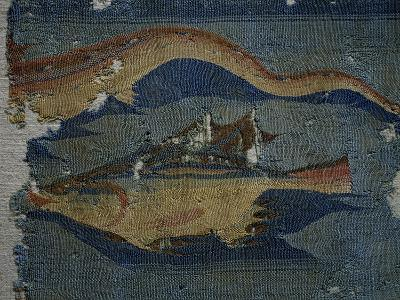 Fish, Detail from Decorated Fabric, Wool, from Antinoe, Egypt, Coptic Civilization