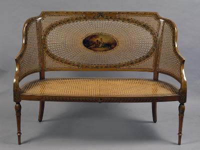 Painted Satinwood Loveseat with Wicker Back and Seat, 1790, United Kingdom