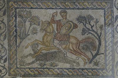 Mosaic of Panther Hunt from Roman Villa of Las Tiendas in Merida, Spain