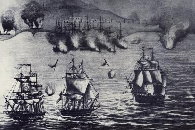 Fleet of Lord Thomas Cochrane in Callao Attacking Spanish Station Peruvian War of Independence