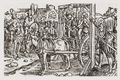 A Public Hanging During the Tudor Period in England