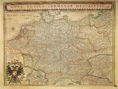 Hodierna Germany from Theatrum Orbis Terrarum by Willem Bleau, Amsterdam, 1635-1645