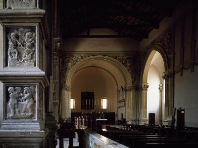 Glimpse of Aisle of Malatesta Temple, Rimini, Emilia-Romagna, Italy