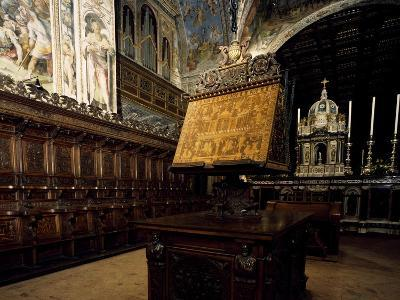 Glimpse of Wooden Choir, Basilica of Saint Peter, Perugia, Umbria, Italy, 16th Century