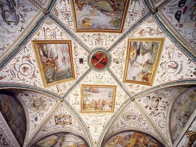 Glimpse of the Ceiling of the Sacristy, Basilica of Saint Peter, Perugia, Umbria, Italy