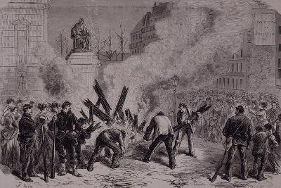 The Communards Burn the Guillotine, 1871, City of Paris, France