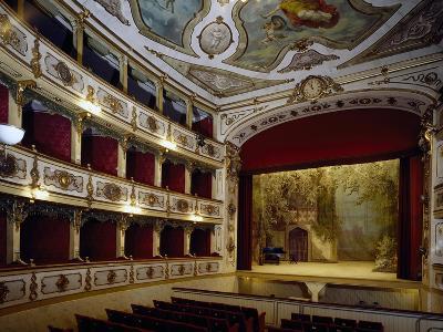 Glimpse of Interior of Giuseppe Verdi Theatre, 1856-1868, Busseto, Emilia-Romagna, Italy