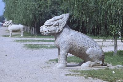 Stone Statues of Animals Along Sacred Way or Spirit Way Leading to Tombs of Ming Emperors Beijing