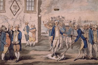 Admiral George Rodney Trampling on French Flag after Victory at Battle of the Saintes
