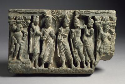 Devotee Meeting with Buddha, Relief, India, Indian Civilization, Kingdom of Gandahara