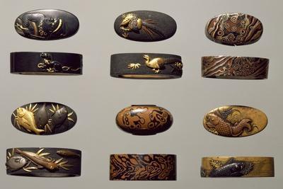 Fuchi-Kashira Set in Shakudo, Shibuchi, Copper Foil Pastes Etc, Japan