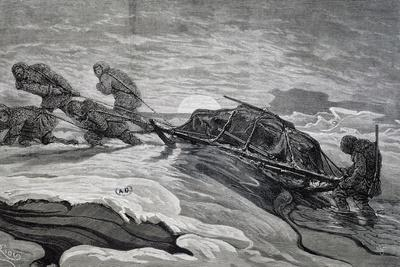 Pulling Sled from Expedition of Ships Germania and Hansa to North Pole, 1869-1870, Arctic