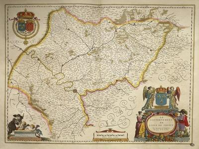 Ile-De-France, Isle of France from Theatrum Orbis Terrarum by Willem Bleau, Amsterdam, 1635-1645