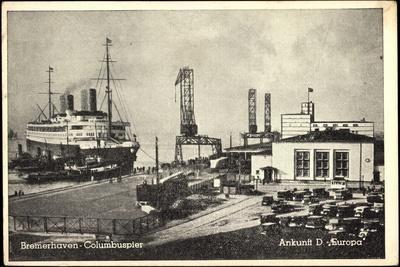 Bremerhaven, Columbuspier, Ankunft Dampfer Europa