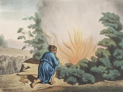 Moses and Burning Bush from Old Testament, End of 19th Century by Bequet, Delagrave Edition, Paris