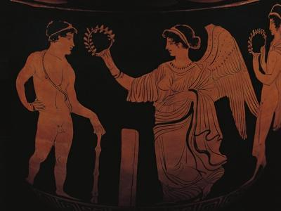 Red-Figure Pottery Depicting Victory Crowning Athlete with Olive Branch