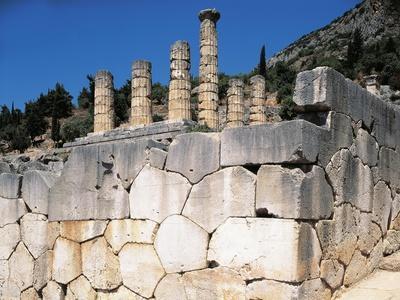 Greece, Delphi, Polygonal Wall Beneath Temple of Apollo, at Archaeological Site