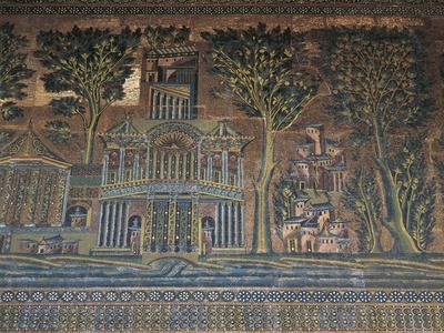 Syria, Damascus, Old City, Umayyad Mosque, Western Colonnade, Mosaics
