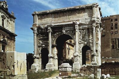 Italy, Latium Region, Rome, Roman Forum, Triumphal Arch of Septimius Severus