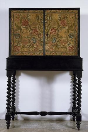 Cabinet in Wood Painted Ebony Black with Embroidered Panels, Italy