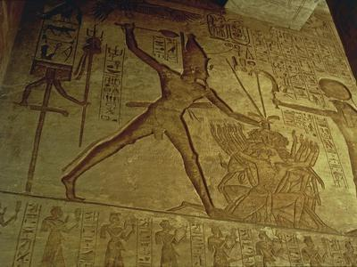 Egypt, Abu Simbel, Reliefs in Great Temple of Ramses II