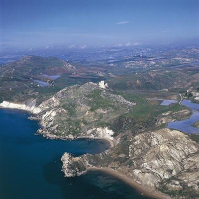 Italy, Sicily Region, Palma Di Montechiaro, Castle of Montechiaro, Aerial View