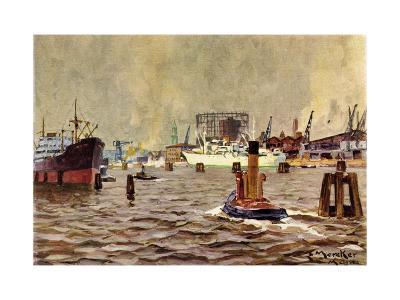 Künstler Mercker, E., Hamburger Hafen, Schiffe