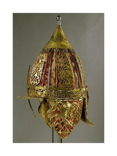 Shishak Ottoman Helmet In Steel Copper Leather Velvet And Silk