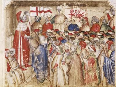 Court Life in Padua, Miniature from Chronica De Carrariensibus, Manuscript, Italy 14th Century