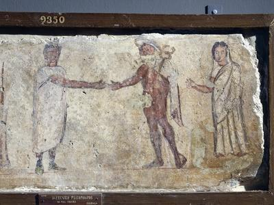 Ancient Roman Fresco Representing Funeral Procession: with Hermes Paying Caronte