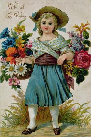 Young Girl with Baskets of Flowers, Christmas Postcard