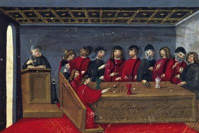 Meeting of Members, Miniature from the Fishmongers Mariegola, 1482, Italy