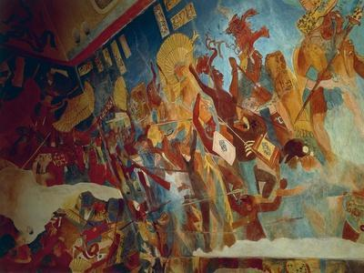 Reconstruction of Bonampak Frescoes from 9th Century, with War Scene