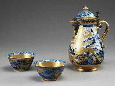 Little Cups and Coffee Pot with Blue Blossoming Branches and Birds on Gold Background