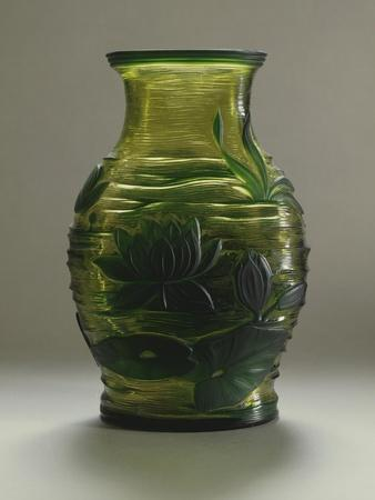 Glass Vase Decorated with Water Lilies in Relief, Bohemia, Czech Republic
