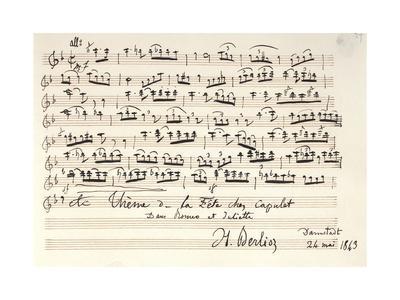Handwritten Score of Romeo and Juliet by Hector Berlioz, 1843
