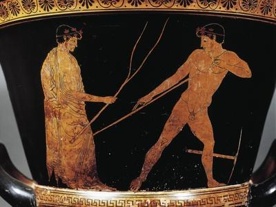 Calyx-Krater Attributed to Painter of Kleophrades, Detail of Athlete with Trainer