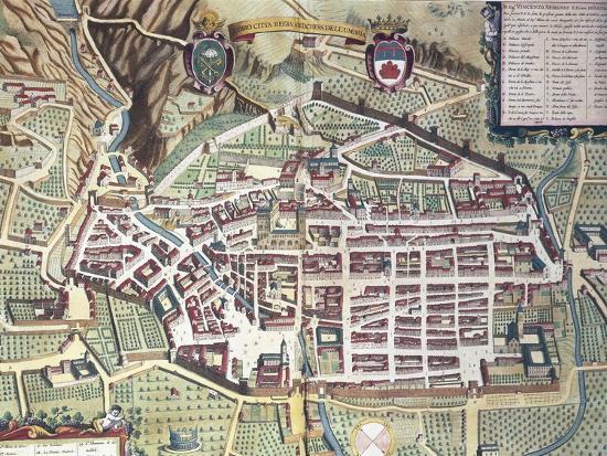 Map Of Gubbio Italy From Theatrum Civitatum Et Admirandorum