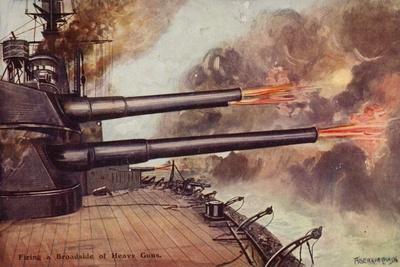 Firing a Broadside of Heavy Guns, World War I