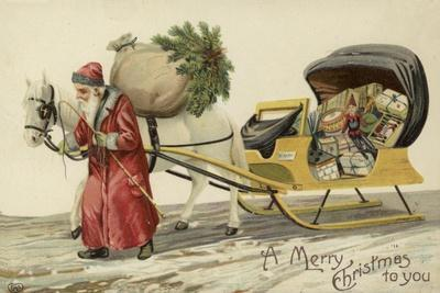 Father Christmas Pulling a Sledge of Presents