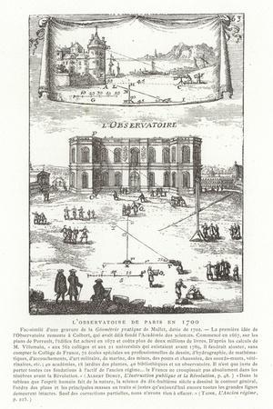 Paris Observatory in 1700