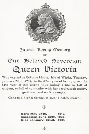 Memorial Card for Queen Victoria