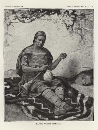 Navajo Woman Spinning