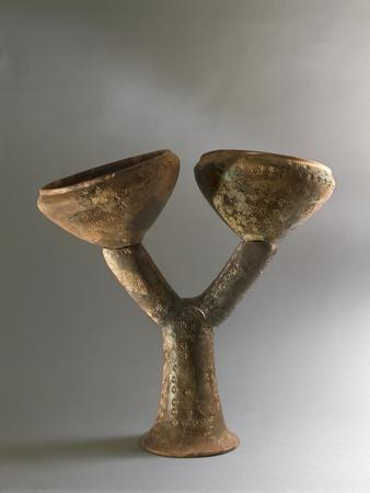 Terracotta Two-Branched Candelabrum, from Necropolis of Ca' Morta, Surroundings of Como, Italy