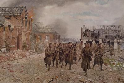 English Brigade Entering Village of Neuve Chapelle, Near Calais, after Clashes of March 1915