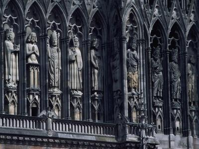 Statues of Facade of Notre-Dame Cathedral of Reims, Reims, Champagne-Ardenne, France, 13th Century